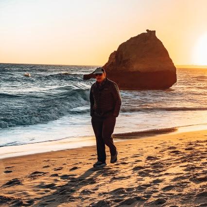 Poppa strolling on the beach in Portimao